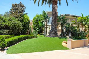 artificial turf installed in San Diego residence front yard near driveway