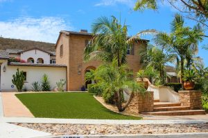 artificial turf installed in San Diego home front yard luxury residence