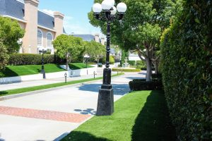 Artificial lawn installed at apartment complex
