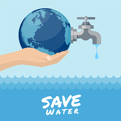 save water art graphic, hand holding globe above water