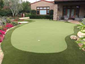 putting green near backyard patio