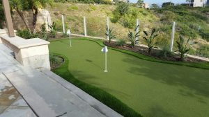putting green in backyard near portch