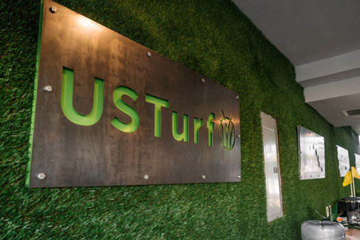 US Turf Sign on an Artificial Grass Wall
